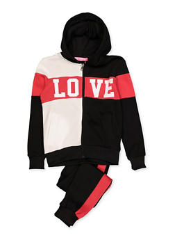 Girls 7-16 Love Color Block Sweatshirt and Joggers Set - 3623056720001