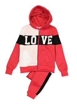 Girls 7-16 Color Blocked Love Graphic Sweatshirt and Sweatpants - 3623056720002