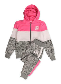 Girls 7-16 Marled Color Block Sweatshirt and Joggers - 3623056720003