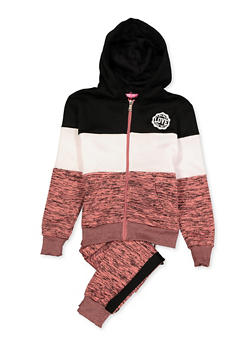 Girls 7-16 Marled Color Block Sweatshirt and Joggers Set - 3623056720004