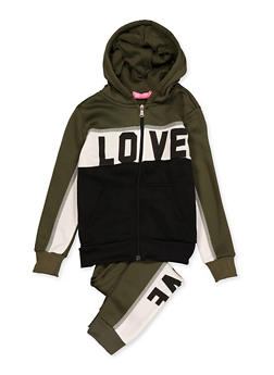 Girls 7-16 Color Block Love Sweatshirt with Joggers - 3623056720006