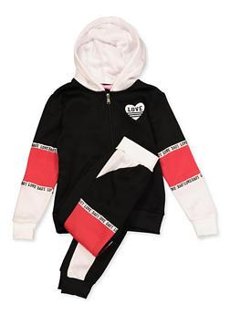 Girls 7-16 Love Heart Zip Sweatshirt and Sweatpants - 3623056720007