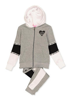 Girls 7-16 Love Sweatshirt and Color Block Joggers Set - 3623056720008