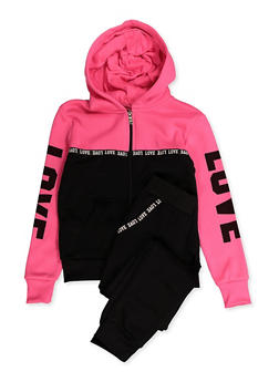 Girls 7-16 Love Tape Color Block Sweatshirt and Joggers - 3623056720009