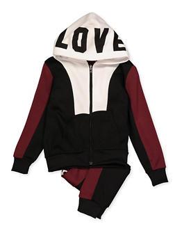 Girls 7-16 Love Zip Up Sweatshirt and Joggers - 3623056720011