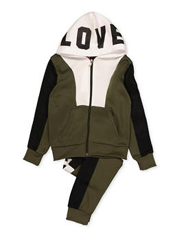 Girls 7-16 Love Graphic Color Block Sweatshirt and Joggers - 3623056720012