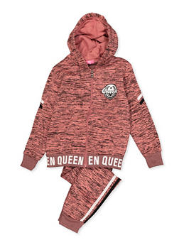 Girls 7-16 Queen Marled Sweatshirt and Joggers - 3623056720013