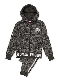 Girls 7-16 Queen Marled Sweatshirt and Joggers Set - 3623056720014