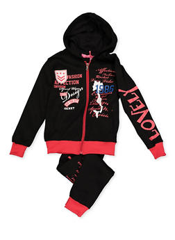 Girls 7-16 Mixed Graphic Sweatshirt and Joggers - 3623056720015