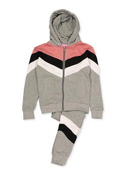 Girls 7-16 Color Block Detail Sweatshirt and Joggers - 3623056720017