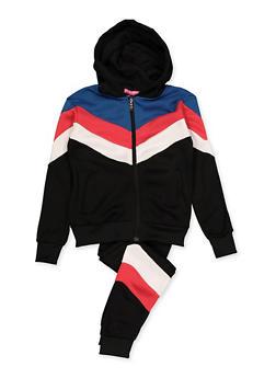 Girls 7-16 Chevron Detail Sweatshirt and Joggers Set - 3623056720018