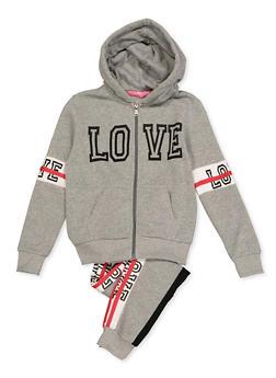Girls 7-16 Zip Front Love Sweatshirt with Joggers - 3623056720019