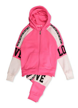Girls 7-16 Love Graphic Sweatshirt with Joggers - 3623056720022