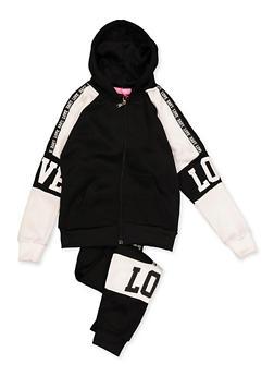 Girls 7-16 Love Zip Front Sweatshirt with Joggers - 3623056720024