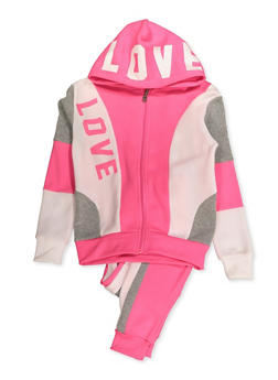 Girls 7-16 Love Color Block Zip Sweatshirt and Joggers - 3623056720027