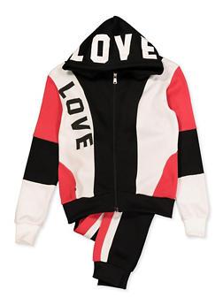 Girls 7-16 Love Sweatshirt and Joggers - 3623056720028