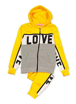 Girls 7-16 Love Color Block Sweatshirt with Joggers - 3623056720029