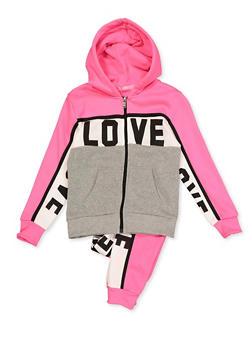 Girls 7-16 Color Block Zip Sweatshirt and Joggers - 3623056720030