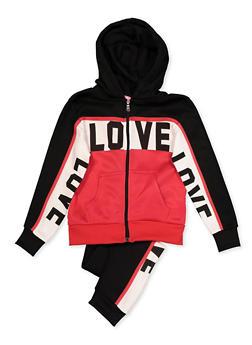 Girls 7-16 Color Block Love Zip Sweatshirt and Joggers - 3623056720031