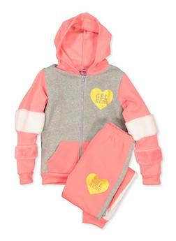 Girls 7-16 Grl Hero Color Block Sweatshirt and Joggers - 3623056990002