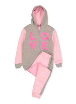 Girls 7-16 Sherpa Lined Love Sweatshirt and Joggers - 3623056990015