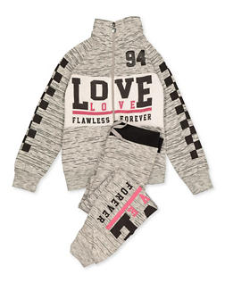 Girls 7-16 Love Flawless Forever Zip Sweatshirt and Joggers - 3623063400010