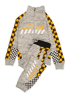 Girls 7-16 Love Checkered Detail Track Jacket and Joggers - 3623063400011