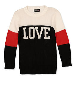 Girls 4-6x Love Color Block Sweater - 3624038340051