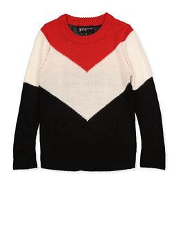 Girls 4-6x Chevron Color Block Sweater - 3624038340052