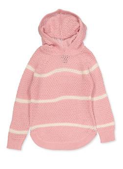 Girls 4-6x Striped Hooded Sweater - 3624038340053