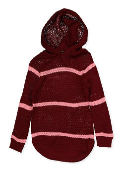 Girls 4-6x Striped Hooded Sweater - 3624038340053