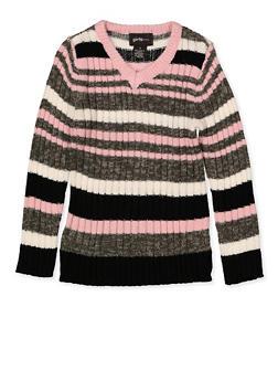 Girls 4-6x Striped V Neck Sweater - 3624038340054