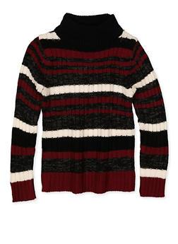 Girls 4-6x Striped Mock Neck Sweater - 3624038340055