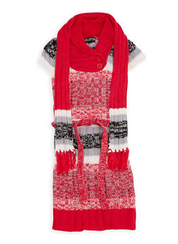 Girls 7-16 Button Neck Sweater Dress with Scarf - 3625038340051