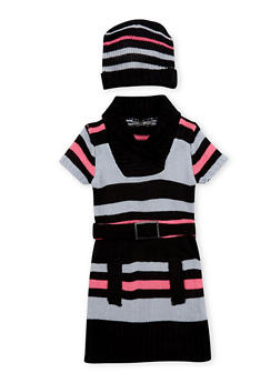 Girls 7-16 Striped Belted Sweater Dress - 3625038340058