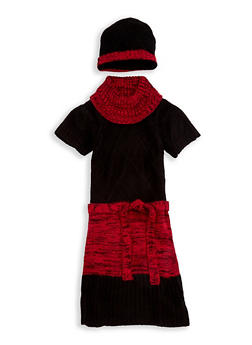 Girls 7-16 Color Block Knit Sweater Dress with Hat - 3625038340061