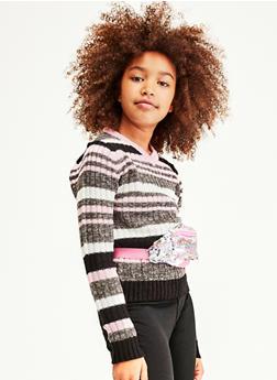 Girls 7-16 Striped V Neck Sweater - 3625038340071