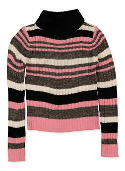 Girls 7-16 Striped Mock Neck Sweater - 3625038340072