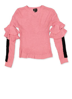 Girls 7-16 Tiered Sleeve Detail Sweater - 3625038340077