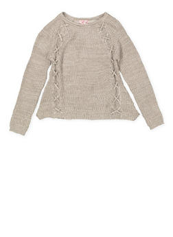 Girls 7-16 Lace Up Trim Sweater - 3625044580002