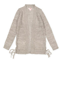 Girls 7-16 Lace Up Side Cardigan - 3625044580003