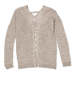 Girls 7-16 Lace Up Back Cardigan - 3625044580004