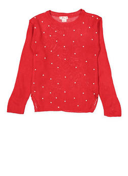 Girls 7-16 Faux Pearl Studded Sweater - 3625044580005