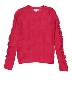 Girls 7-16 Lace Up Sleeve Sweater - 3625044580006