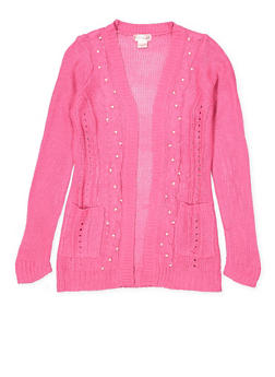 Girls 7-16 Faux Pearl Cable Knit Cardigan - 3625044580007