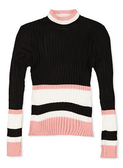 Girls 7-16 Striped Trim Mock Neck Sweater - 3625051060001