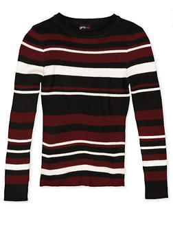 Girls 7-16 Striped Crew Neck Sweater - 3625051060002
