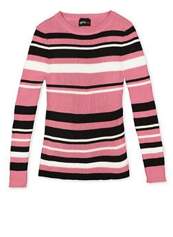 Girls 7-16 Striped Crew Neck Sweater - 3625051060002