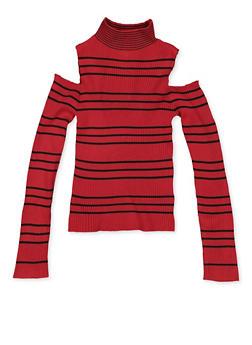 Girls 7-16 Striped Cold Shoulder Sweater - 3625051060003