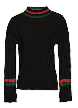 Girls 7-16 Striped Trim Ribbed Sweater - 3625051060004